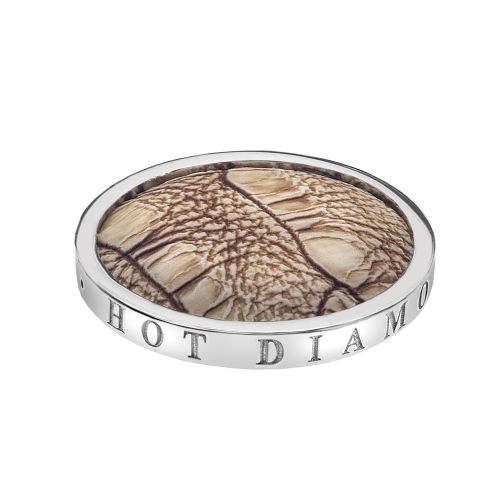 Emozioni Silver Plated Stainless Steel Faux Crocodile Light Brown Coin-Small 25mm EC092